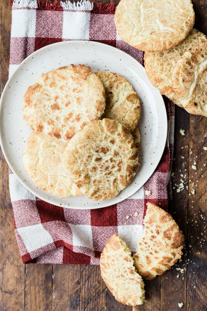 To make these easy Snickerdoodles, just roll sugar cookie dough in a cinnamon-sugar mixture before flattening and baking. These are great all year round!