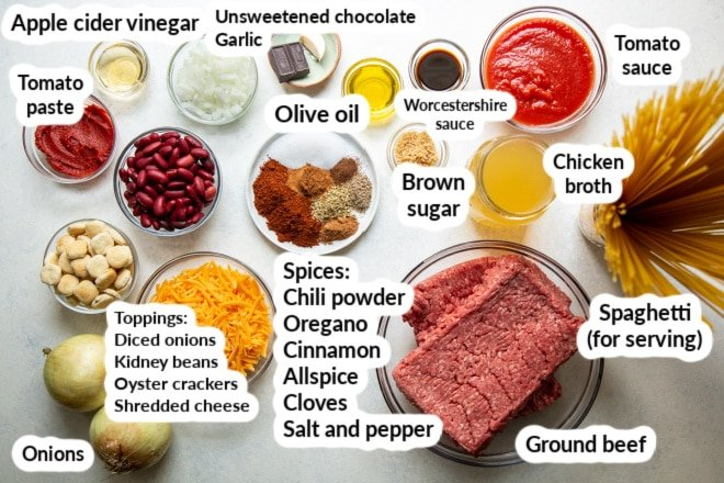 Labeled ingredients for Cincinnati Chili.