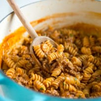 An easy recipe for Sloppy Joe Casserole, perfect for those times when you want to eat Sloppy Joes on a fork instead of on a bun. Based on my wildly popular Sloppy Joes recipe, it's made all in one pot and ready in 30 minutes or less, start to finish. Perfect for busy weeknights and wickedly delicious!