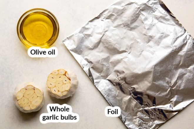 Ingredients for roasted garlic.