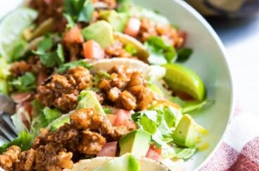 The best turkey tacos on a white platter.