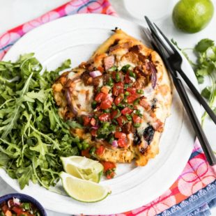 Inspired by countless restaurants, this version of Monterey Chicken can be grilled in no time with it's two-ingredient marinade and super simple topping. Per the name, combine melted Monterey pepper jack cheese and smokey bacon with honey-mustard chicken for the ultimate weeknight dinner. Serve with a classic pico de gallo and a squeeze of lime. Dinner at home will feel like a night out!