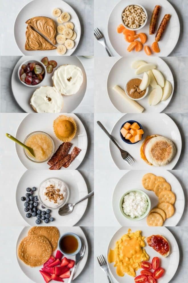Ten plates with different toddler breakfasts.