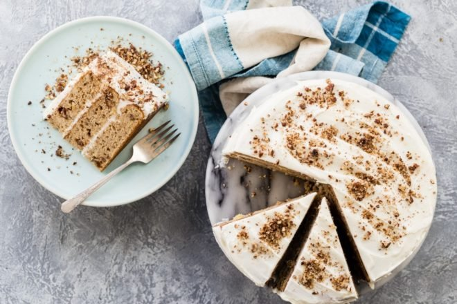 A southern classic, Hummingbird Cake delights all who taste it. Chock full of sweet tropical fruit and a cream cheese frosting pressed with toasted pecans, you'll be migrating back to this perfect cake on a regular basis!