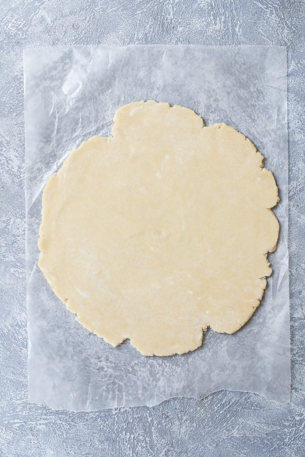 Pie crust dough in a circle on top of parchment paper.