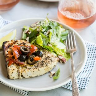 When the weekend arrives and I feel like celebrating, grilled swordfish topped with a salty black olive, basil, and tomato salsa pushes all the right buttons. It grills up in a flash; all I have to do is choose a wine and dinner is ready.