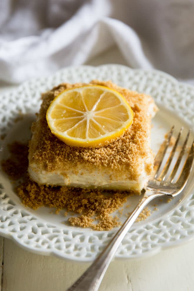 You'll love this light and airy no-bake Lemon Cheesecake! No eggs, no whipped cream, no oven necessary. This recipe is just smooth, silky, light-as-air lemony goodness. Exactly what you remember from so many years ago.