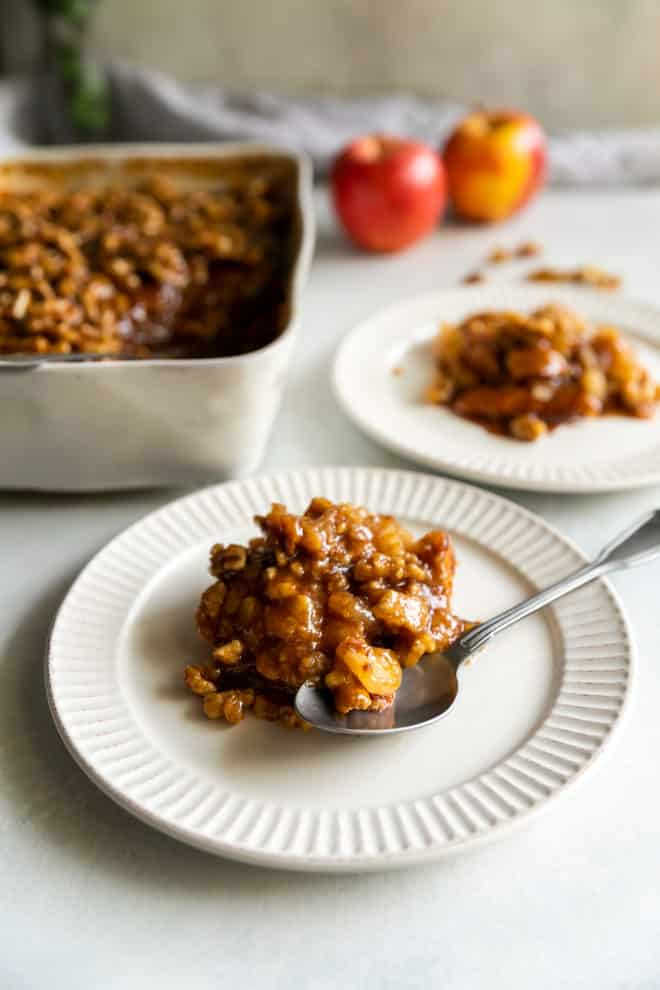 Inspired by the famous Houston's Restaurant in Austin, Texas (now known as Bartlett's), this Apple Walnut Cobbler is like upside down apple pie, because that's exactly how you make it. The baked apple pies are then topped with a rich caramel sauce that has been accented with walnuts, which add a crunchy texture and nutty flavor.