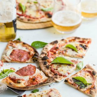 Homemade pizza slices.