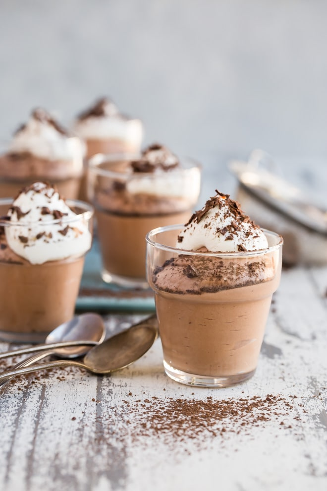 This easy chocolate mousse is the stuff chocolatey dreams are made of, and the fact that it's so unbelievably simple to make is thanks to an unlikely secret ingredient: mini marshmallows. Yep, that's right! This chocolate mousse is egg free, fuss free, and pure silken chocolate pleasure with every bite. Spoon into little demitasse cups to serve at a party, or fill a graham cracker crust shell to make a chocolate mousse pie. As for the marshmallows, well, that can be our little secret. I won't tell a soul.