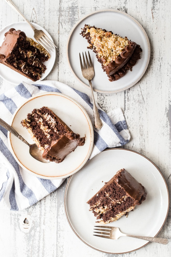 Calling all coconut and chocolate fans (you know who you are)! This recipe for German chocolate cake turns up the dial on the chocolate and then gets slathered in a luscious homemade frosting that's loaded with pecans and shredded coconut. This may be the best layer cake of them all.
