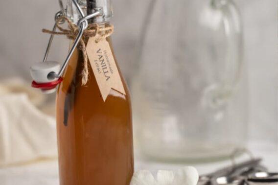 A bottle of homemade vanilla extract.