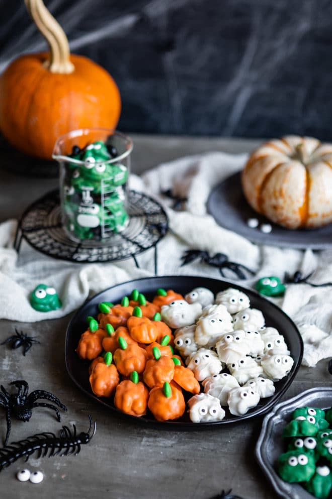 These easy, adorable Halloween walnuts are coated in colorful candy melts and make a wholesome sweet treat. Add candy eyes for scary monsters or candy-coated chocolates for pumpkin stems. Your kids will definitely want to get in on the decorating fun, too!