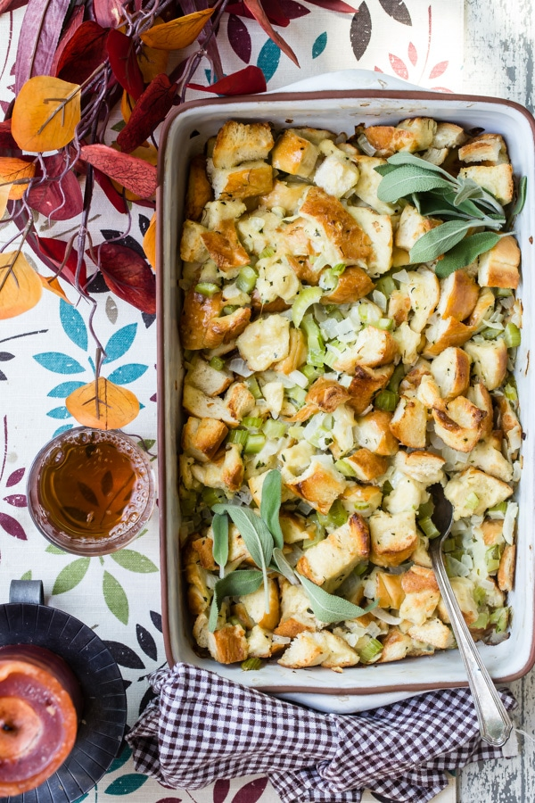 Stuffing in a baking dish.