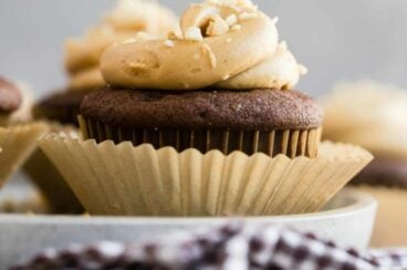 Peanut butter frosting on a chocolate cupcake.