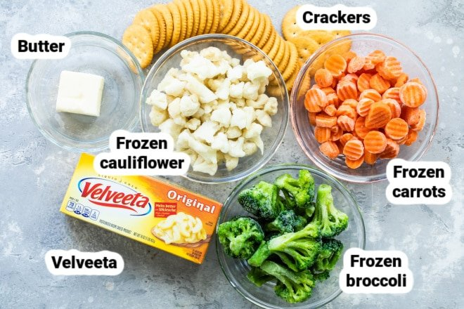 Labeled ingredients for vegetable casserole.