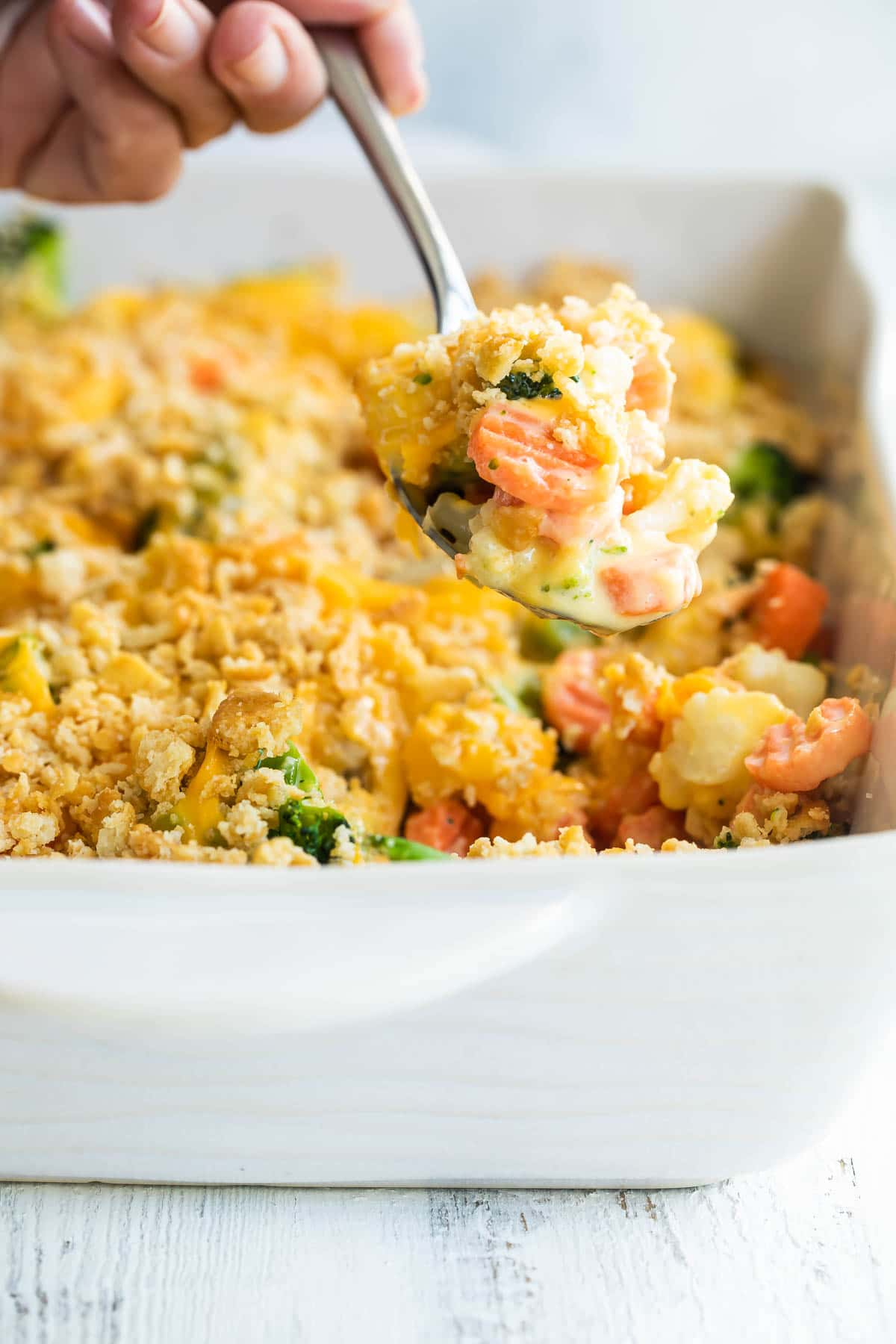 Baked vegetable casserole in a baking dish.