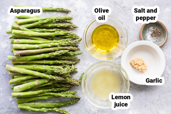 Labeled ingredients for roasted asparagus.
