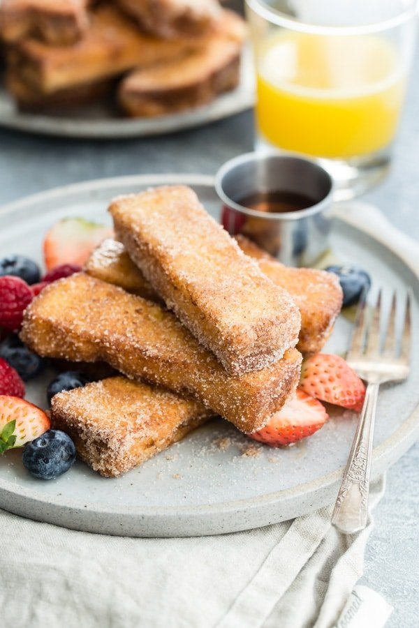 I know you're going to want this recipe for French Toast Sticks; they're dippable, dunkable, and absolutely irresistible at any age. Trust me; I've been making them for breakfast almost every weekend since the 8th grade.