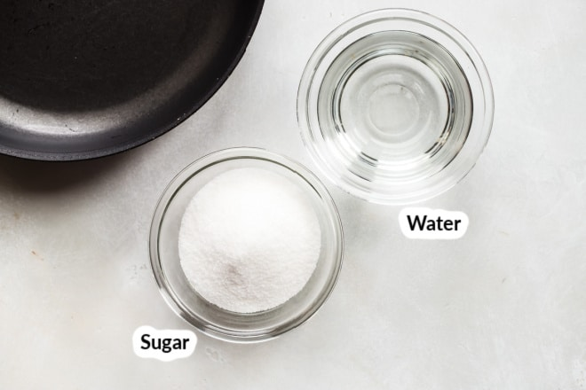 Labeled simple syrup ingredients in bowls.