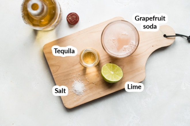 Labeled paloma cocktail ingredients.