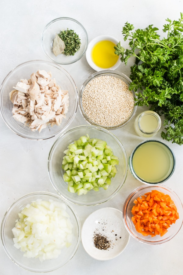 I updated my favorite Chicken Noodle Soup recipe with healthy, nutty quinoa. This Chicken Quinoa Soup makes an easy lunch option or a quick dinner that won't break your resolutions.  Add fresh lemon juice and cilantro for extra flavor and a preview of the spring days ahead. Ready in 30 minutes or less.