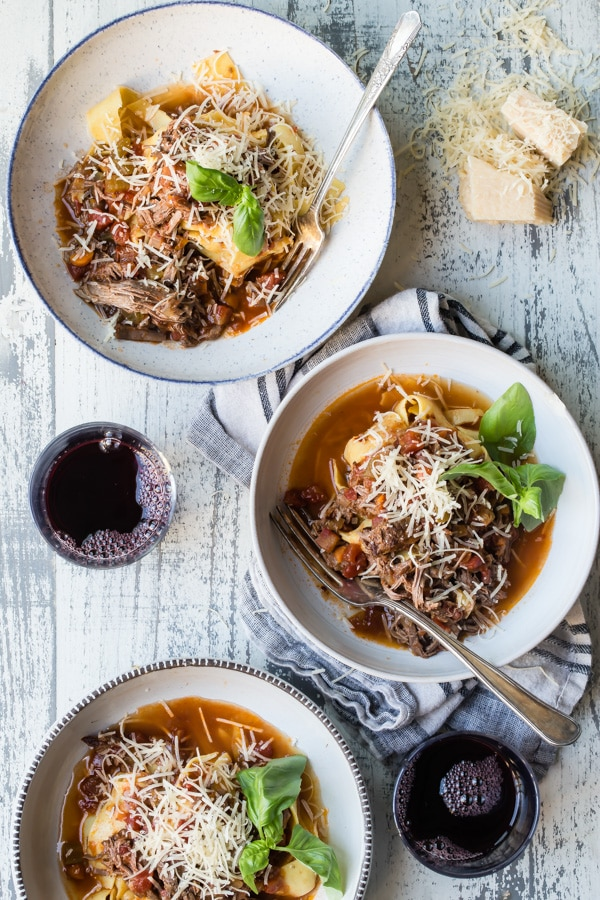 A beautiful and effortless Northern Italian recipe, this Slow Cooker Beef Ragù with Pappardelle is warm and welcoming after a long day at work. Slow-braised beef, tomato, carrots, onions, and a hint of red wine cooked until it practically melts over the noodles--there's no better way to eat.