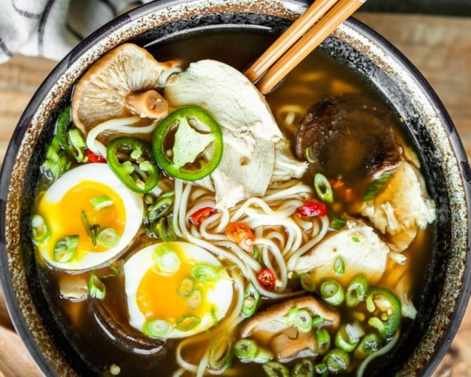 An easy recipe for Chicken Ramen soup. Prep all your ingredients ahead and you can have delicious homemade chicken ramen on the table in 15 minutes or less.