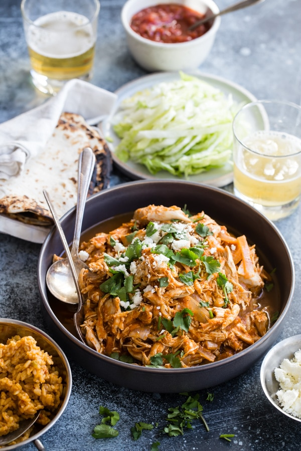 Make Chicken Tinga for dinner tonight, and you'll thank yourself all week long for the leftovers. They're smoky, spicy, and just what you need on Taco Tuesday, Tostada Thursday, or any weeknight at all. Muchas gracias, you!