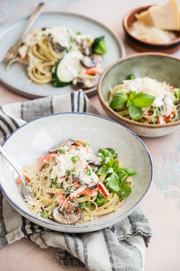 "Pasta Primavera is one of the tastiest ways to eat all your vegetables. Think of it as a ""kitchen sink"" pasta recipe and load it up with whatever veggies you have on hand, all tossed in the most delicious cream sauce."