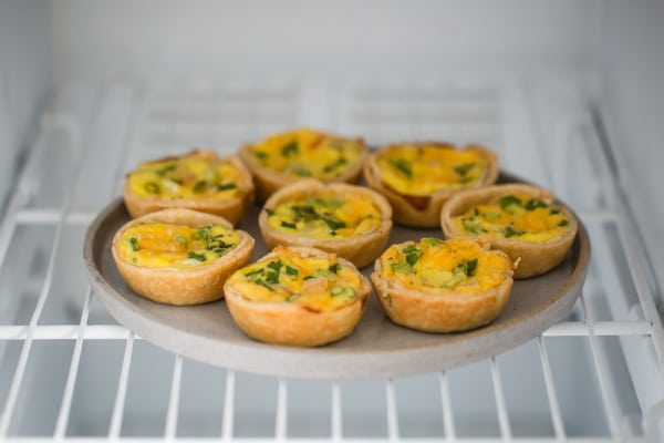 Quiche Muffins are going to be your new weekday BFF: Break-fast Friend. You can even make a big batch and freeze them; they reheat in just a few minutes, in the oven or microwave. You can also leave out the crust in case you're watching carbs.