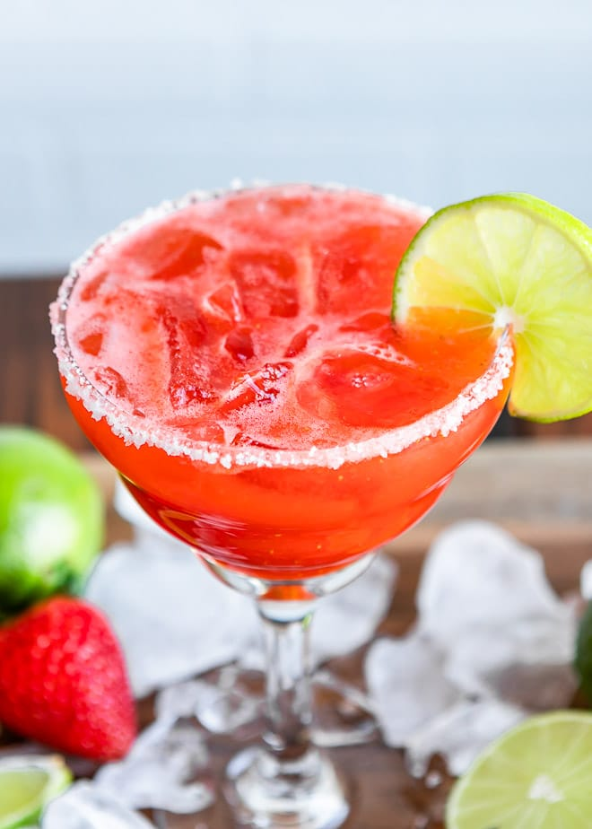 """I can't think of a better time to let your hair down and have a little fun; this fresh Strawberry Margarita can be the perfect way to get started. On the rocks or frozen, with a salted rim (or not), one sip of this beauty says """"hello, weekend!"""""""