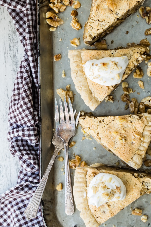 Inspired by a dessert made for a certain horserace in early May, Chocolate Walnut Pie will make you feel like you're there, even if you're not! Brown butter, chocolate, walnuts, and bourbon baked in a flaky pie crust…it's the surest bet you can make.