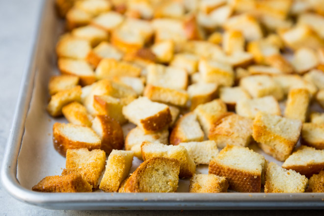 All your crouton questions are answered, because after all, what is a salad—or a soup, for that matter—without them? Learn how to make the best croutons you've ever tasted out of leftover bread or baguette, right here.