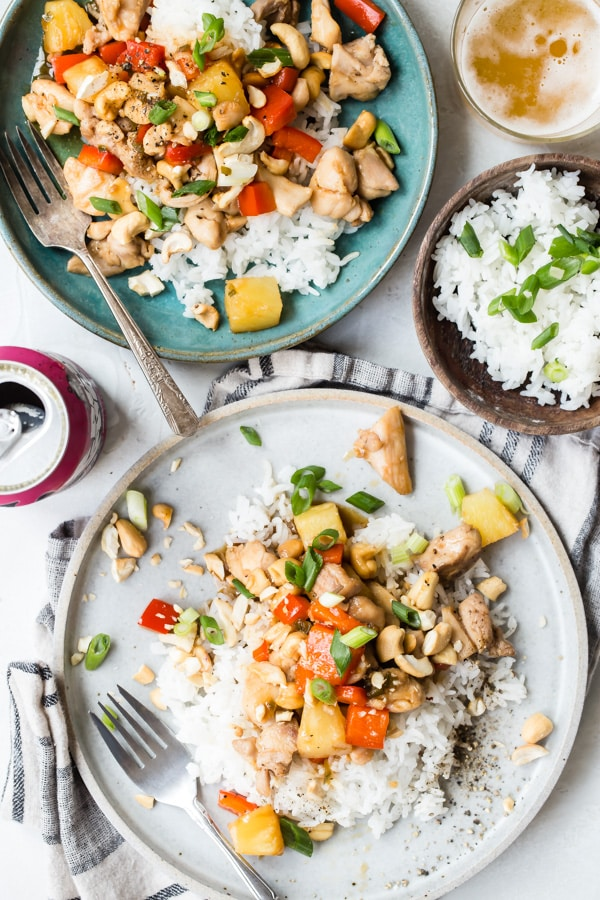 Is there anything better than a quick chicken stir-fry recipe for dinner? Probably not. Equal parts sweet, spicy, and a little sticky, this is the perfect easy pineapple chicken recipe that makes every age run to the dinner table. Best of all, it takes less than 30 minutes to make. By the time the rice is cooked, dinner is officially ready.