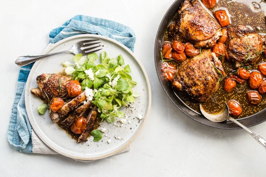 Bright and budget-friendly, this recipe for Balsamic Chicken and Tomatoes Recipe is ready to become your default weeknight dinner. Ready in about 30 minutes—just enough time to make a big salad or warm up some crusty bread to sop up all that delicious pan juice.