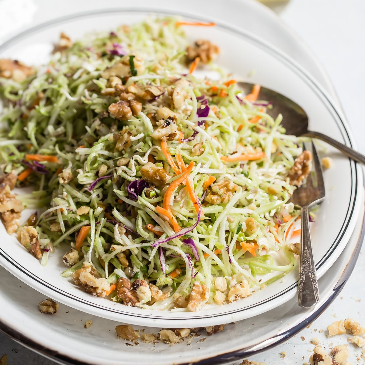 This recipe for Crunchy Broccoli Slaw is fast and easy with just 5 minutes of prep! It's a little sweet, fantastically tangy, and has crunch for days.