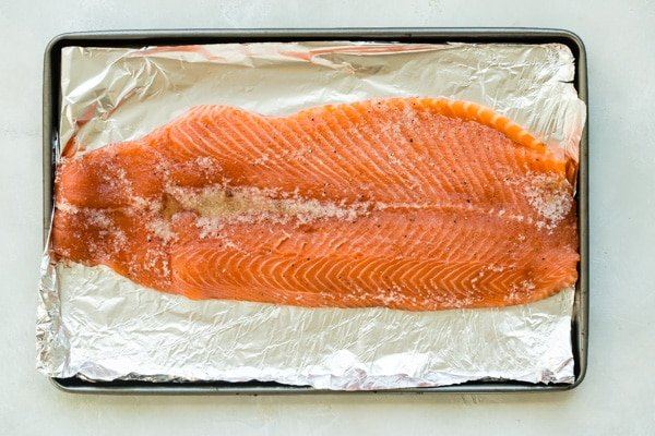 Smoked salmon on foil.