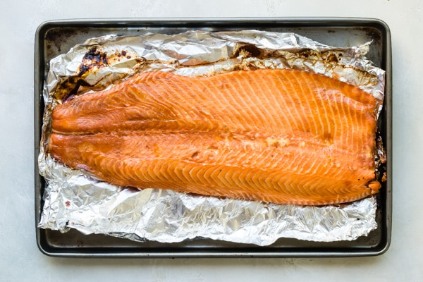 Salmon out of the smoker on foil.