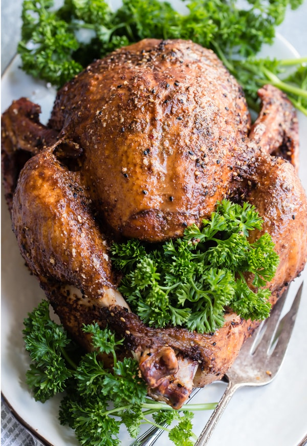 This recipe shows you how to make smoked turkey using a charcoal smoker--in this case, a Weber Smokey Mountain--from start to finish. And if you want to smoke a brined turkey, there's a perfect and easy recipe for smoked turkey brine included, as well.