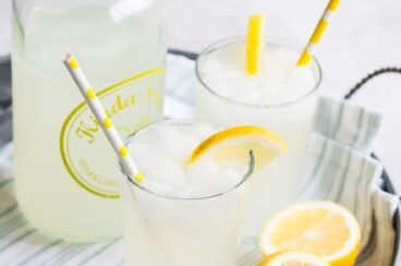 How to make lemonade in two glasses on a silver tray.