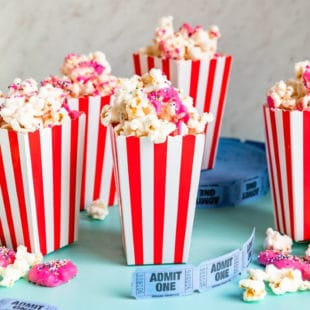 An easy recipe for Circus Animal Cookie Popcorn, a sweet and salty snack that your kids will love! Great for school lunches, parties, or pure nostalgia.