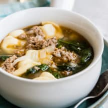 A hot bowl of rustic Sausage and Tortellini Soup is the best thing in the world at the end of a long, chilly day. Ready in about 30 minutes; proof that the most satisfying dinners don't always have to be complicated.