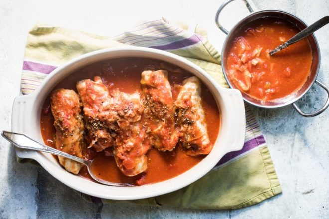A cherished Polish recipe for amazing Stuffed Cabbage Rolls makes a perfect dinner for a leisurely weekend. Seasoned ground beef and rice fills cabbage leaves to bursting, then everything is simmered in a tangy, fragrant tomato sauce. Enough for seconds, and maybe even thirds.
