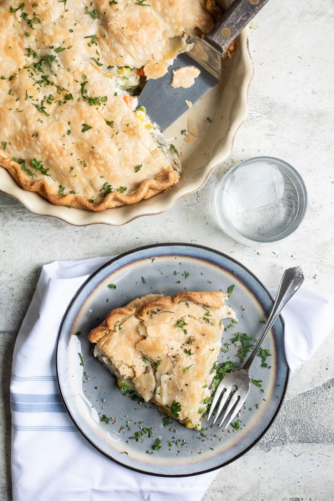 Leftover turkey never had it this good! Homemade Turkey Pot Pie, flaky crust and all, is just the thing to make when you're craving comfort food.