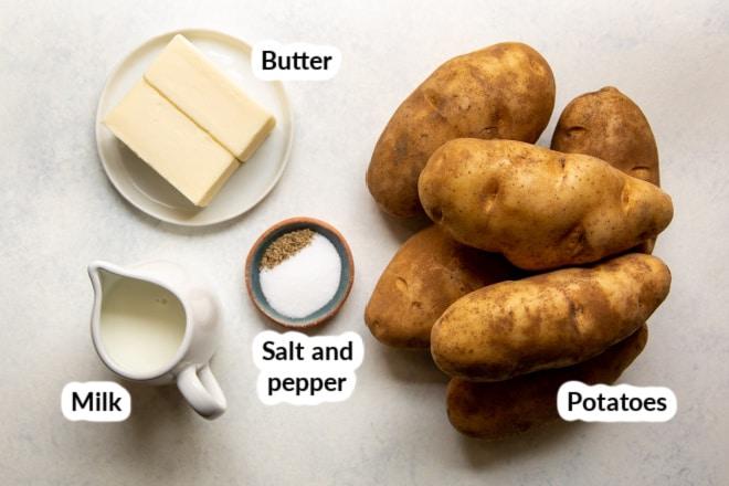 Labeled mashed potato ingredients.