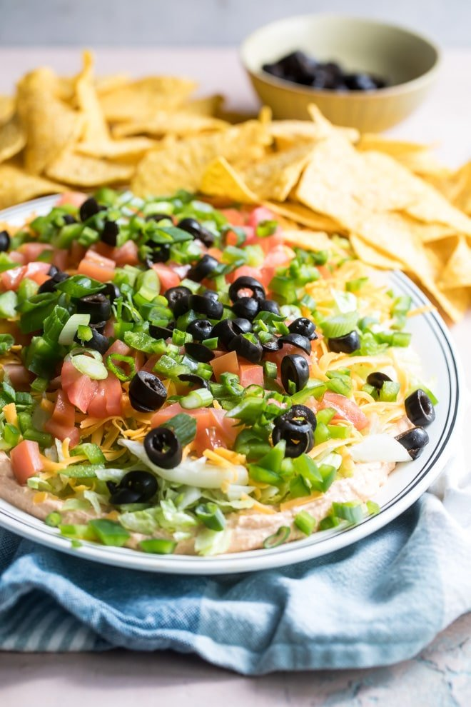 Easy taco dip on a white plate.