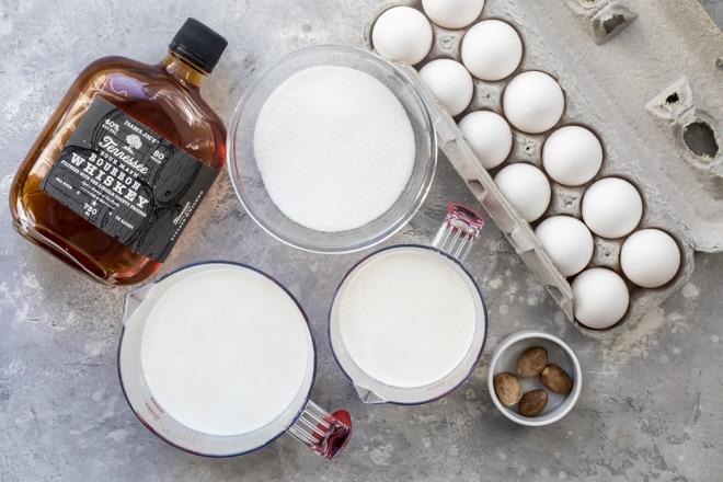 An overhead shot of eggnog ingredients.