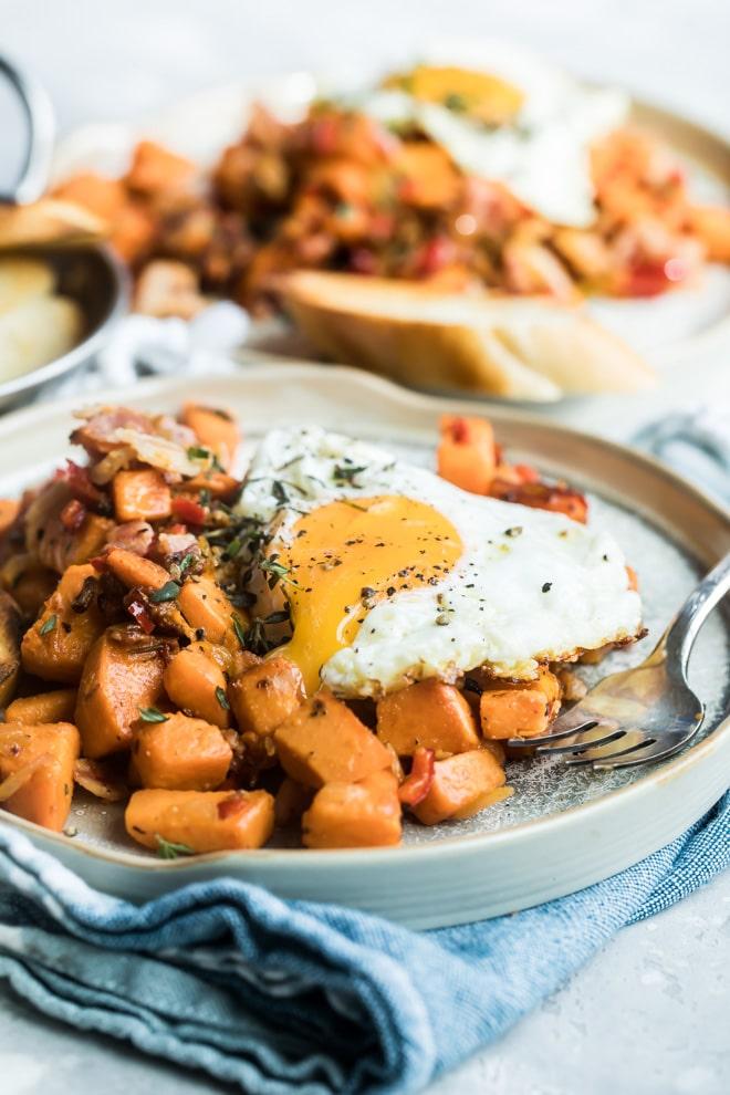 Sweet potato hash on a plate.