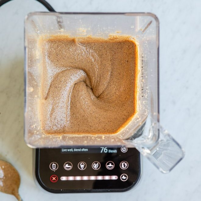 Almond butter in a blender.
